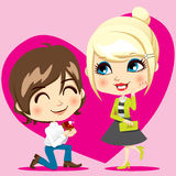 Marriage Proposal. Handsome man proposing marriage to beautiful woman with diamond ring stock illustration