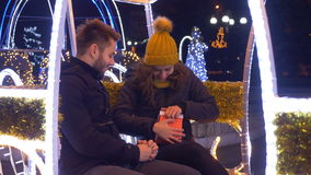 Marriage proposal in carriage on Christmas time at downtown market stock footage