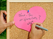 Marriage proposal handwritten Stock Photography