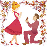 Marriage proposal illustration. Royalty Free Stock Images