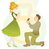 Marriage Proposal. Man Give Ring To His Girl Royalty Free Stock Photography