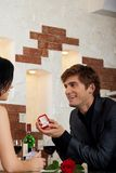 Marriage proposal, man give ring to his girl Royalty Free Stock Images