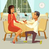 Marriage Proposal. Vector Flat Illustration. Marriage Proposal. Man makes Marriage Proposal Woman in Restaurant and gives Ring. Happy Couple getting ready for stock illustration