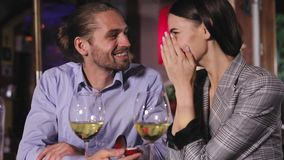 Marriage proposal. Man proposing woman get married in restaurant. Marriage proposal. Man proposing woman to get married in restaurant on romantic date stock video