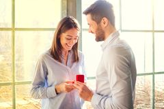 Marriage proposal. Proposal men asking marry to his girlfriend royalty free stock photography