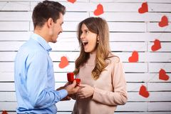 Marriage proposal. Proposal men asking marry to his girlfriend.r royalty free stock photography