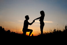 Marriage Proposal Sunset Royalty Free Stock Image