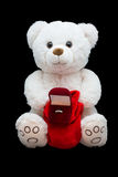Marriage proposal. Symbol soft toy with ring Stock Photography