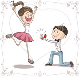 Marriage Proposal Vector Cartoon Stock Image