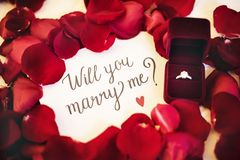 Marriage proposal will you marry me  hand writing Stock Image