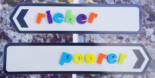 Marriage for richer or poorer. An image of a sign post with two arrows labeled richer and poorer as in the marriage vows. The words are in colorful lower case Stock Image