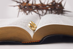 Marriage rings on holy bible Stock Images