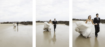 Marriage running beach. Marriage bridal dresses beach couple in love Royalty Free Stock Photo