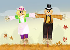 Marriage of scarecrows Royalty Free Stock Photo