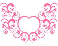 Marriage. A sort of greeting card with a heart in the centre of the image and swirling curves around it. It can be used as a tatoo also. Elegant and baroque Royalty Free Stock Image
