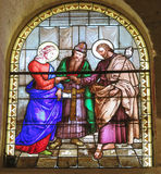 Marriage of St. Joseph and Mary, stained glass window of the Chu. Rch of St. Joseph in Nazareth, Israel Royalty Free Stock Photo