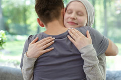 Marriage after successful cancer treatment. Young marriage happy after successful breast cancer treatment and remission Stock Photo