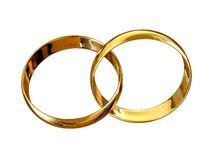 Marriage symbol. Wedding rings connected in marriage symbol stock illustration