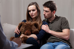 Marriage therapy because of infertility stock photography