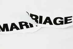 Marriage torn apart. Word Marriage torn apart concept for divorce Stock Photo