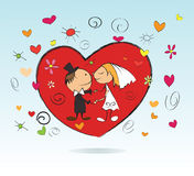 Marriage. Wedding congratulations card. Happy couple kissing,vector illustration cartoon characters Royalty Free Stock Photo