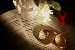 Marriage2. Wedding Rings and Roses on a definition of marriage Stock Photo