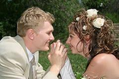 Married. Bridegroom and bride look friend on friend Stock Image