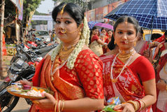 Married Bengali Hindu Woman. Married Bengali Hindu women prepair for smear and play with vermilion during Sindur Khela traditional ceremony on the final day of Royalty Free Stock Photo
