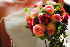 Married bouquet. Dress and roses Royalty Free Stock Photos