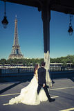 Married on a bridge in Paris Stock Photo