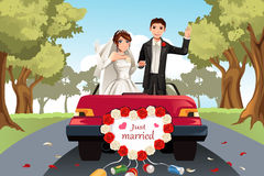 Married couple. A vector illustration of a married couple going away in a car Royalty Free Stock Photo