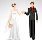 Married Couple. Illustration of newly married couple in wedding costume Royalty Free Stock Photo