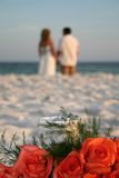 Married Couple. On beach stock photography