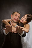 Married couple angry quarreling and fighting Royalty Free Stock Images