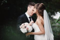 Married couple angry quarreling and fighting. fun and crazy brides