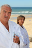 Married couple at the beach. Couple of mature people at the beach Royalty Free Stock Photo