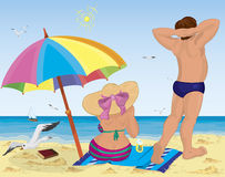 Married couple on the beach under umbrella. Vector illustration of a married couple on the beach under umbrella Royalty Free Stock Photography