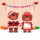Married couple bear Santa Claus and his wife  on white background Royalty Free Stock Photos