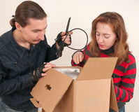 Married couple and box. Stock Photography