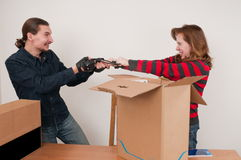 Married couple and box. Stock Images
