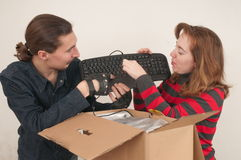 Married couple and box. Royalty Free Stock Image