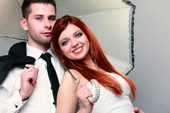 Married couple bride groom on gray. wedding. Royalty Free Stock Images