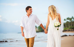 Married couple, bride and groom holding hands at sunset on beaut Stock Images