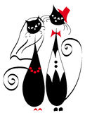 Married couple cats. Vector illustration of married couple cats Stock Photo