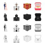 A married couple, a church, a wedding gift, an engagement ring. Wedding set collection icons in cartoon black monochrome. Outline style vector symbol stock Royalty Free Stock Photos