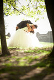 Married couple dancing and kissing in park Royalty Free Stock Photo