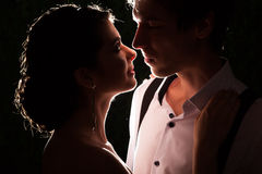 Married couple in dark backlit Stock Image