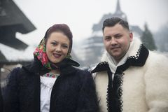 Married couple dressed in traditional Romanian clothes Stock Photography