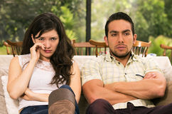 Married couple fighting at home royalty free stock photos