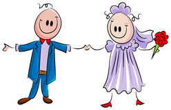 Married couple. Funny cartoon of married couple Stock Image